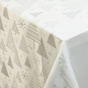 SNOW, fehér-ezüst fenyőfa mintás lurexes karácsonyi, ünnepi terítő, dekoranyag