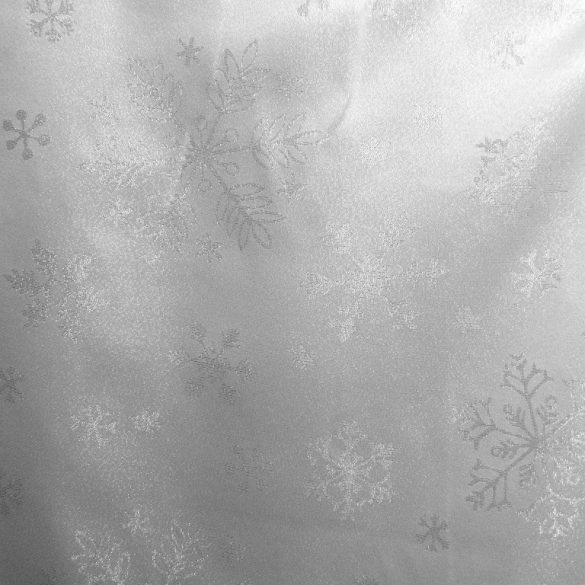 PEHELY, fehér-ezüst hópehely mintás lurexes karácsonyi, ünnepi terítő, dekoranyag