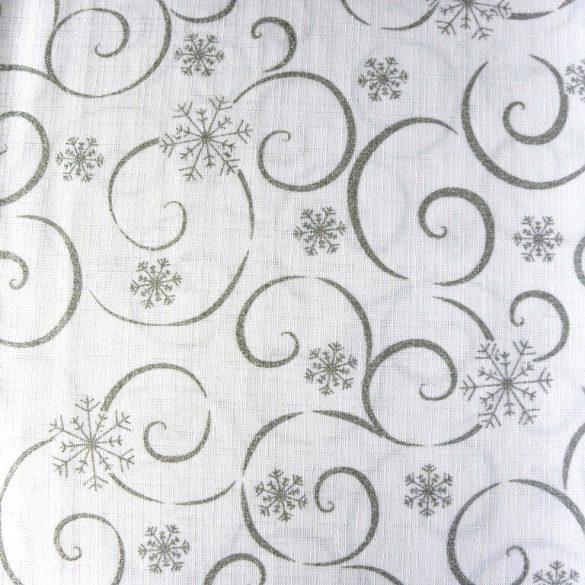 MEANDER, fehér-ezüst, karácsonyi, szennytaszító, teflonos abroszanyag méteráru