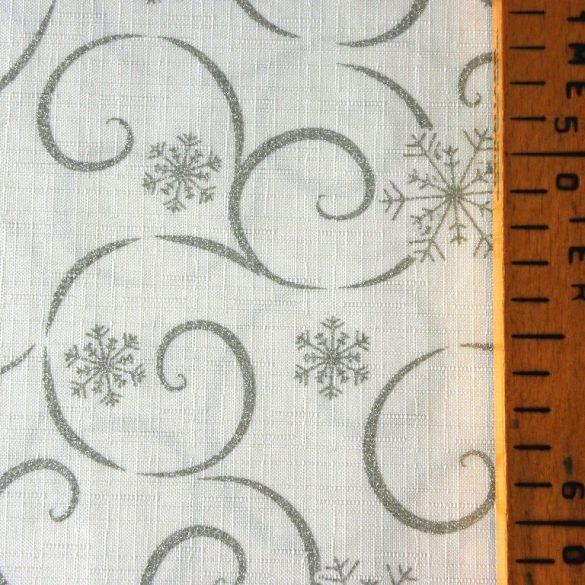 MEANDER, fehér-ezüst, karácsonyi teflonos abroszanyag méteráru