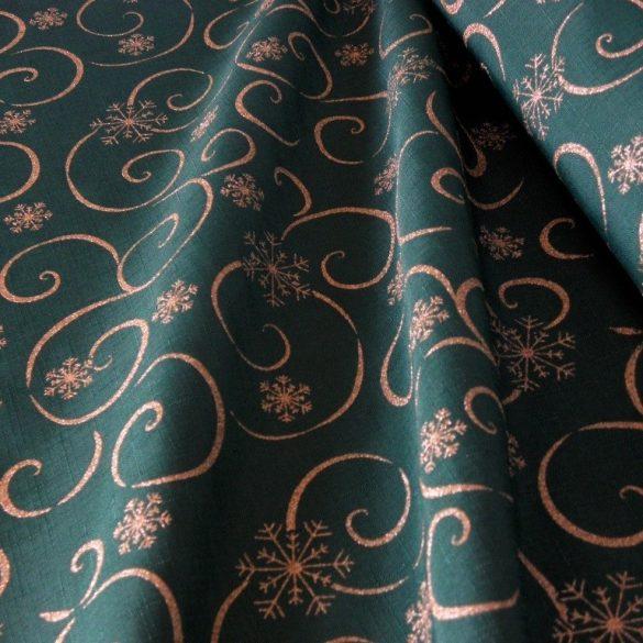 MEANDER, zöld-arany, karácsonyi teflonos abroszanyag méteráru