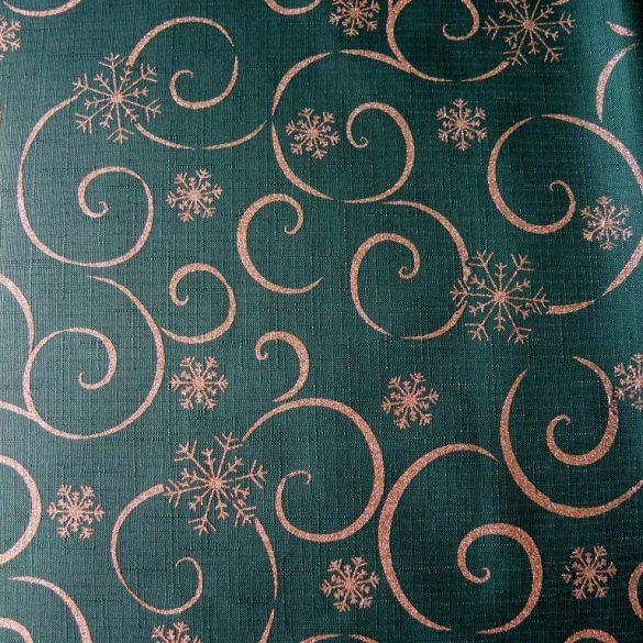 MEANDER, zöld-arany, karácsonyi, szennytaszító, teflonos abroszanyag méteráru