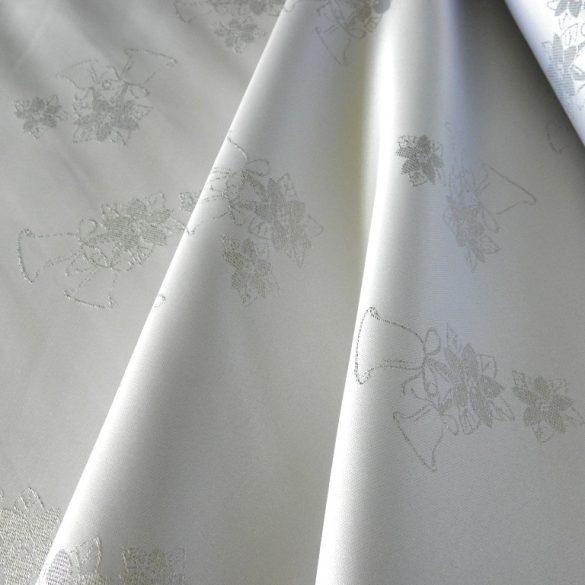 LAMABELL, ezüst harangos, karácsonyi teflonos abroszanyag méteráru