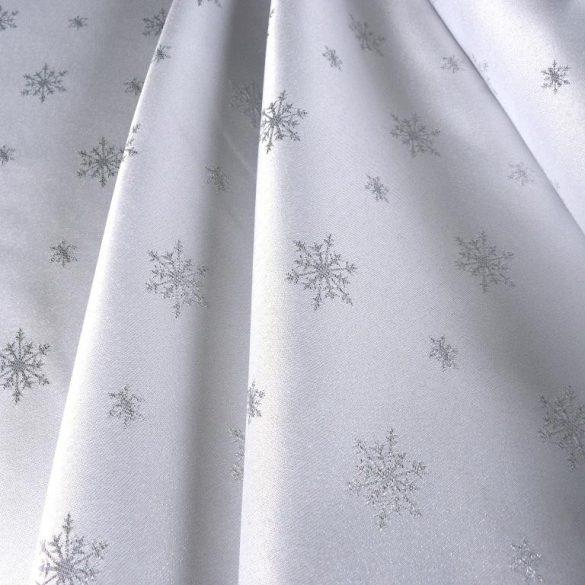 HÓPEHELY, fehér, ezüst mintás, karácsonyi, szennytaszító, teflonos abroszanyag