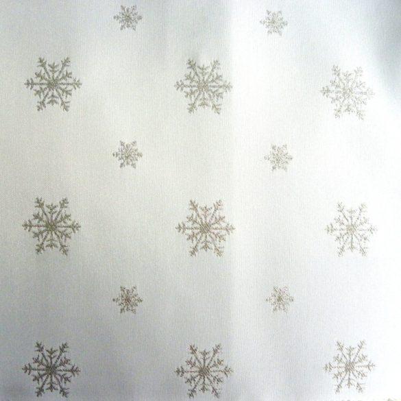 HÓPEHELY, fehér, ezüst mintás, karácsonyi, szennytaszító, teflonos abroszanyag méteráru