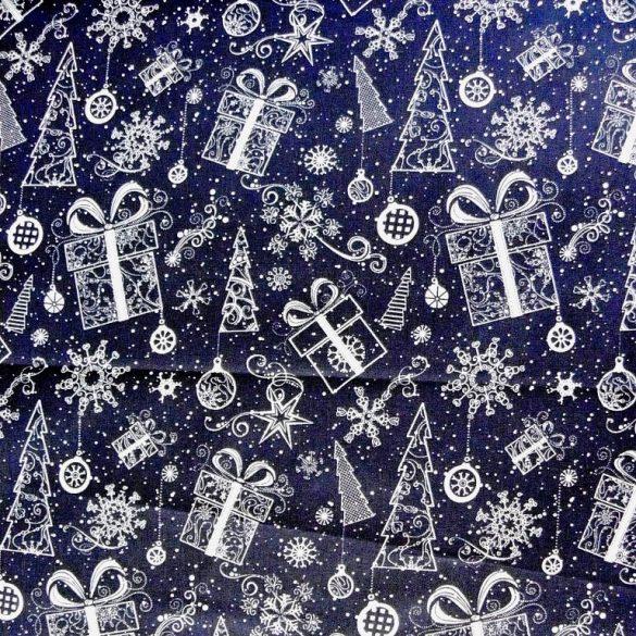 GIFTBOX, karácsonyi mintás pamutvászon - kék