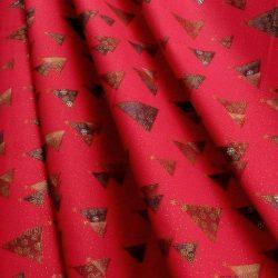 PINEAS, piros, fenyőfa mintás, karácsonyi pamutvászon