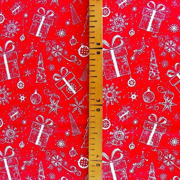 GIFTBOX, karácsonyi mintás pamutvászon - piros