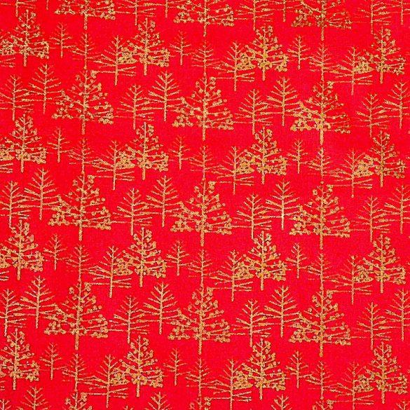 FENYŐERDŐ, karácsonyi mintás pamutvászon - piros