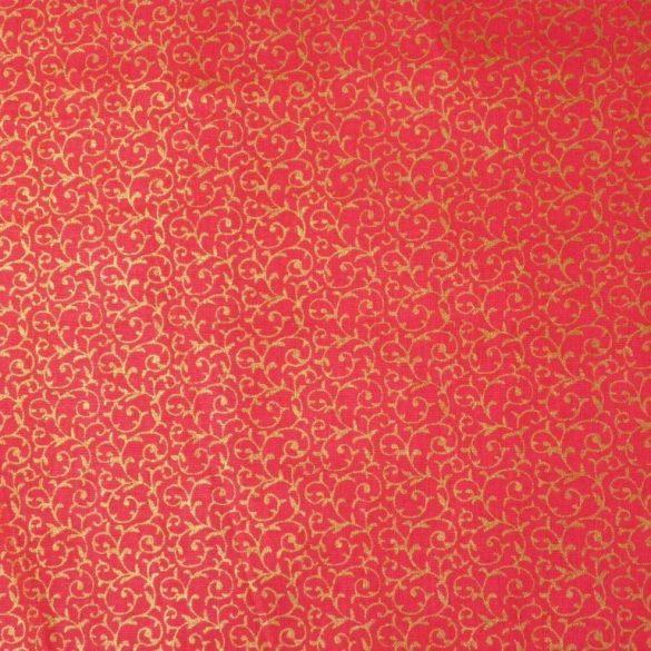 INDÁS, karácsonyi mintás pamutvászon - piros