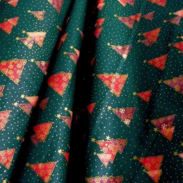PINEAS, zöld, fenyőfa mintás, karácsonyi pamutvászon