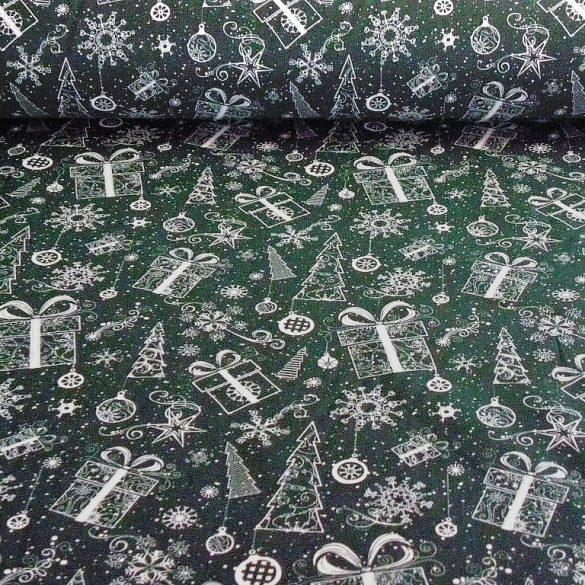 TWINKLE STAR, zöld, arany csillag mintás, karácsonyi pamutvászon