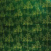 FENYŐERDŐ, karácsonyi mintás pamutvászon - zöld