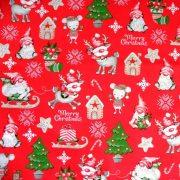 RUDI, extra széles, karácsonyi mintás pamutvászon - piros