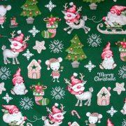 RUDI, extra széles, karácsonyi mintás pamutvászon - zöld