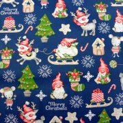 RUDI, extra széles, karácsonyi mintás pamutvászon - kék