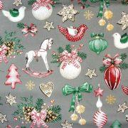 Lovacska, díszek, extra széles, karácsonyi mintás pamutvászon - szürke