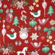 Lovacska, díszek, extra széles, karácsonyi mintás pamutvászon - bordó