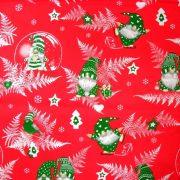 Manócskák, extra széles, karácsonyi mintás pamutvászon - piros