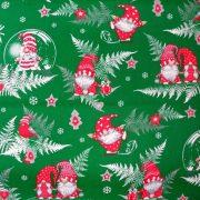 Manócskák, extra széles, karácsonyi mintás pamutvászon - zöld