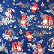 Manócskák, extra széles, karácsonyi mintás pamutvászon - kék