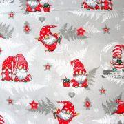 Manócskák, extra széles, karácsonyi mintás pamutvászon - szürke