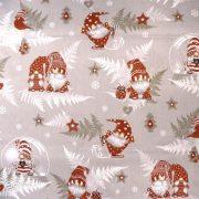 Manócskák, extra széles, karácsonyi mintás pamutvászon - drapp