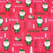 HOHOHO, extra széles, karácsonyi mintás pamutvászon