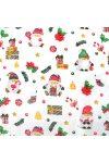Karácsonyi kismanó, extra széles, karácsonyi mintás pamutvászon, fehér