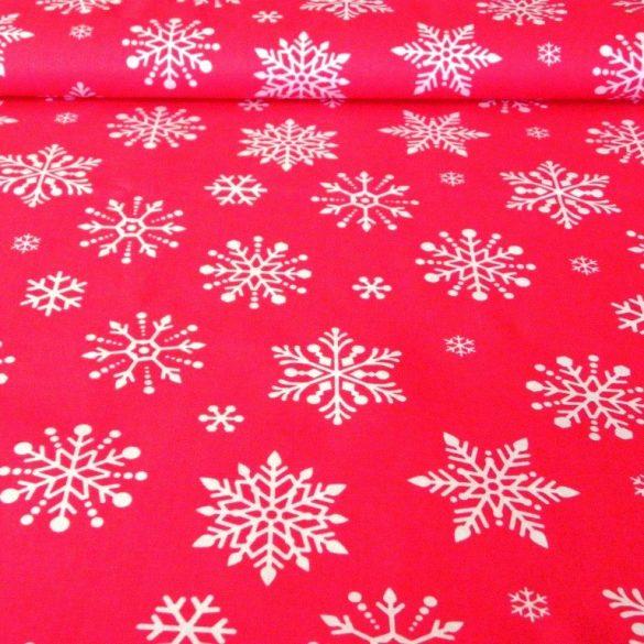 PIHE, extra széles, karácsonyi mintás pamutvászon, piros