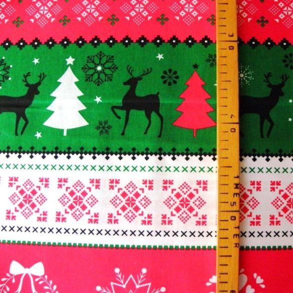 NORDIC, extra széles, karácsonyi mintás pamutvászon, színes