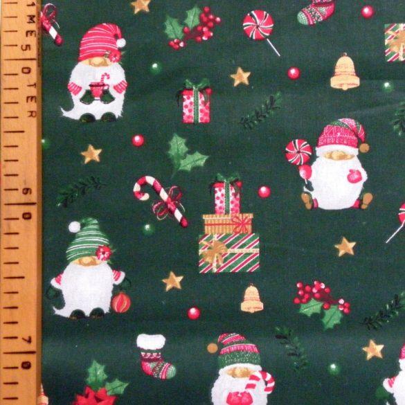 Karácsonyi kismanó, extra széles, karácsonyi mintás pamutvászon, zöld