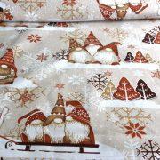MANÓ, extra széles, karácsonyi mintás pamutvászon, drapp