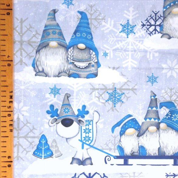 MANÓ, extra széles, karácsonyi mintás pamutvászon, kék