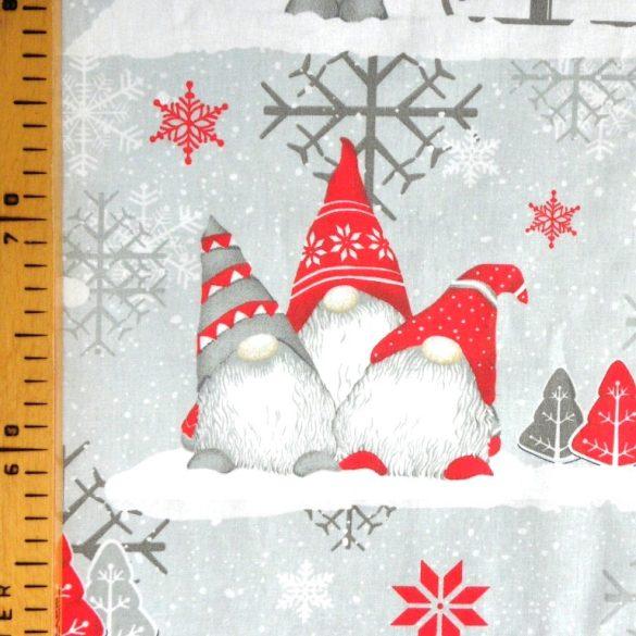 MANÓ, extra széles, karácsonyi mintás pamutvászon, szürke-piros