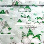 MANÓ, extra széles, karácsonyi mintás pamutvászon, szürke-zöld