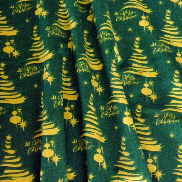ARANYFENYŐ, karácsonyi pamut-poliészter vászon anyag, zöld