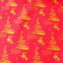 Karácsonyi mintás pamut-poliészter vászon anyag, XMAS, ekrü