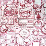 FANFARE, bordó patchwork, vintage mintás, karácsonyi pamut-poliészter vászon anyag