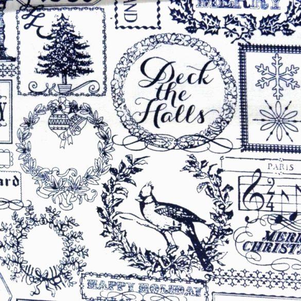 FANFARE, kék patchwork, vintage mintás, karácsonyi pamut-poliészter vászon anyag