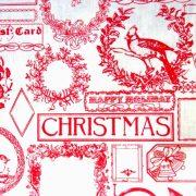 FANFARE, piros patchwork, vintage mintás, karácsonyi pamut-poliészter vászon anyag