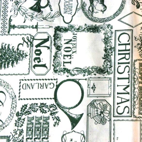 FANFARE, zöld patchwork, vintage mintás, karácsonyi pamut-poliészter vászon anyag