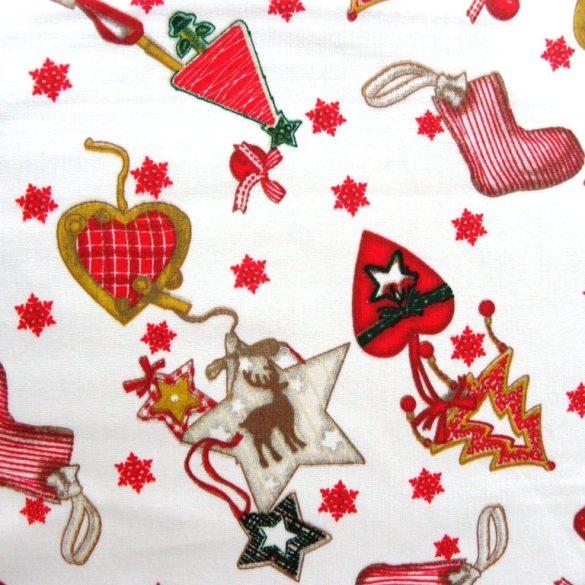 ORNAMENTS, karácsonyi díszek pamut-poliészter vászon anyag