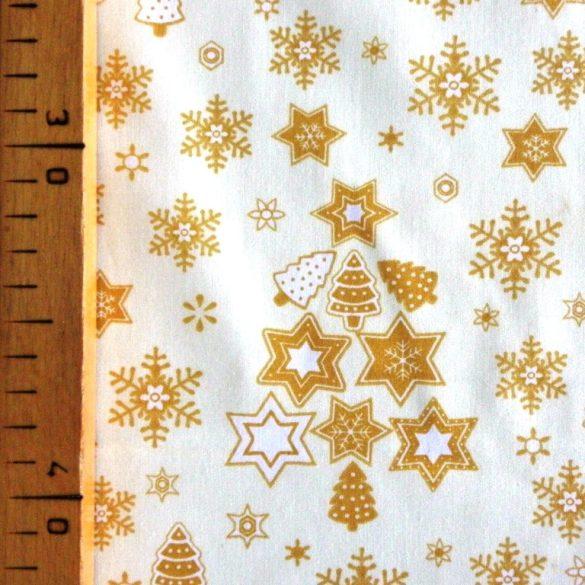 STAR TREE karácsonyi pamut-poliészter vászon anyag, ekrü