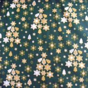 STAR TREE karácsonyi pamut-poliészter vászon anyag, zöld