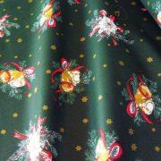 NAGYKARÁCSONY, gyertyás, harangos karácsonyi pamut-poliészter vászon anyag, zöld