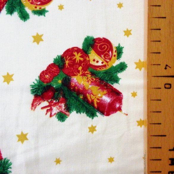 CANDLE, karácsonyi pamut-poliészter vászon anyag, ekrü