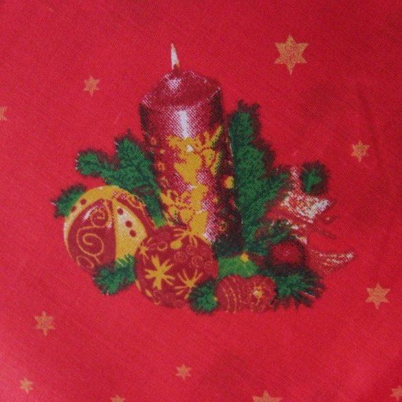 CANDLE, karácsonyi pamut-poliészter vászon anyag, piros