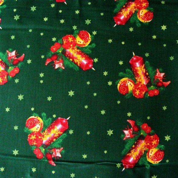 CANDLE,  karácsonyi pamut-poliészter vászon anyag, zöld