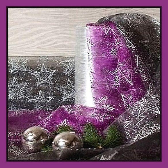 Ezüst nagy csillagos organza dekorációs anyag, püspöklila